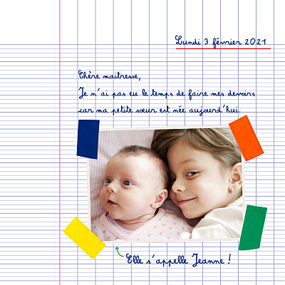 Faire-part de naissance Cahier d'écolier 2 photos blanc finition