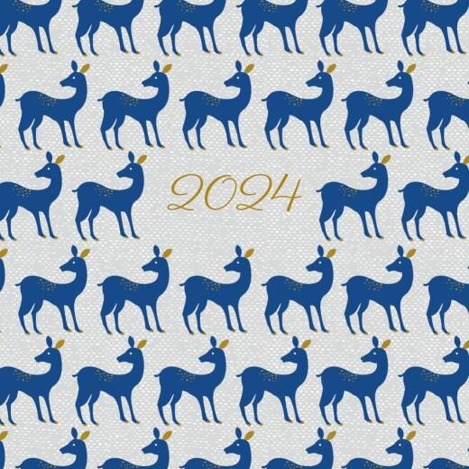 Carte de voeux Petites biches de noël bleu
