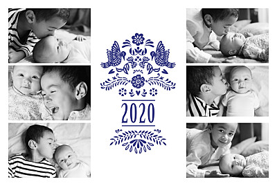 Carte de voeux Papel picado 6 photos bleu finition