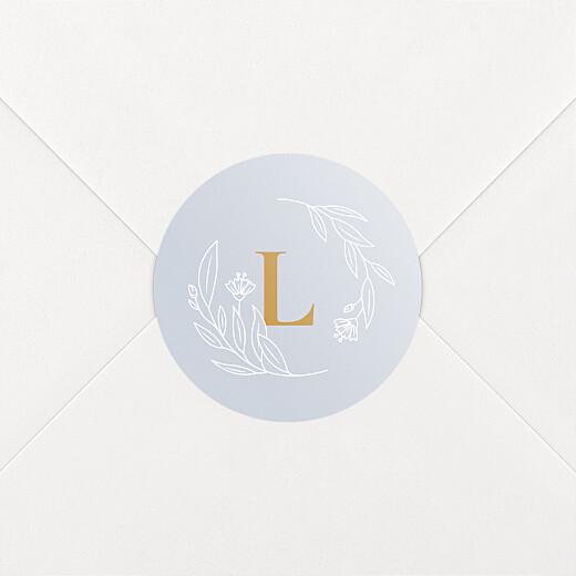 Stickers pour enveloppes naissance Blason floral jaune - Vue 2