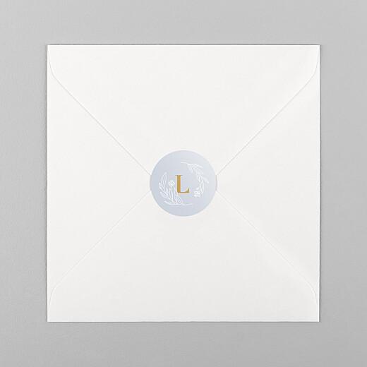 Stickers pour enveloppes naissance Blason floral jaune - Vue 1