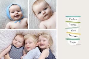 Faire-part de naissance Petits bols (3 enfants) vert