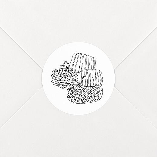 Stickers pour enveloppes naissance Mon petit soulier blanc - Vue 2