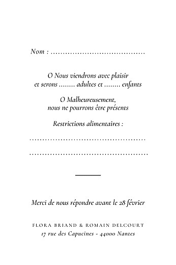 Carton réponse mariage Poésie amoureuse blanc - Page 2
