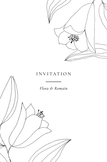 Carton d'invitation mariage Poésie amoureuse blanc