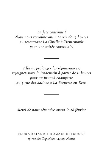 Carton d'invitation mariage Poésie amoureuse blanc - Page 2