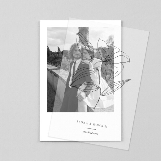 Carte de remerciement mariage Poésie amoureuse (calque) blanc - Vue 1