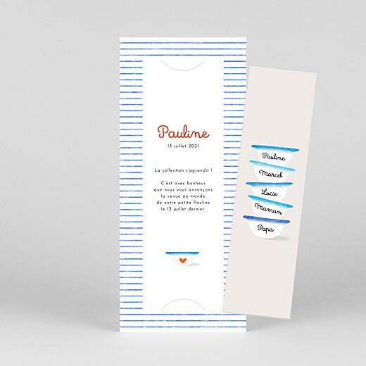 Faire-part de naissance Petits bols (marque-page) (3 enfants) bleu - Vue 1
