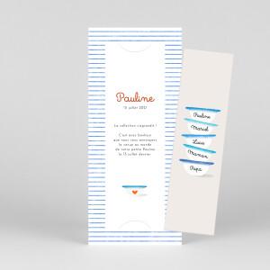 Faire-part de naissance Petits bols (marque-page) (3 enfants) bleu