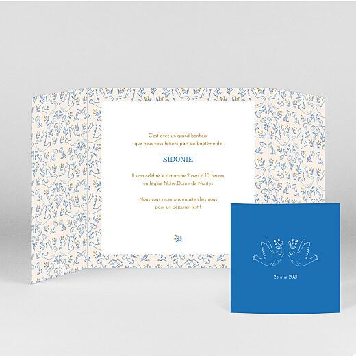 Faire-part de baptême L'envolée (fenêtre) bleu - Vue 2