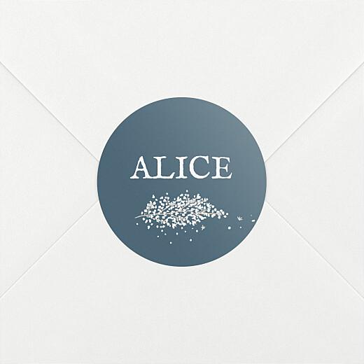 Stickers pour enveloppes baptême Gypsophile chic bleu - Vue 2