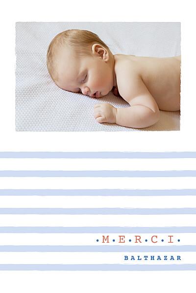 Carte de remerciement Merci marinière photo bleu finition
