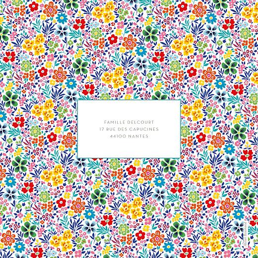 Faire-part de naissance Mille fleurs photo (4 pages) jaune & rouge - Page 4