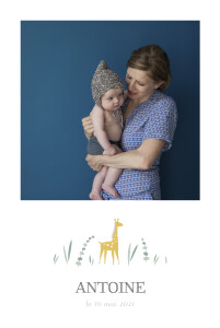 Faire-part de naissance Girafe 4 photos rv blanc