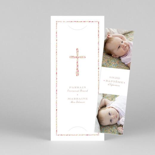Faire-part de baptême Croix liberty (marque-page) rose - Vue 1