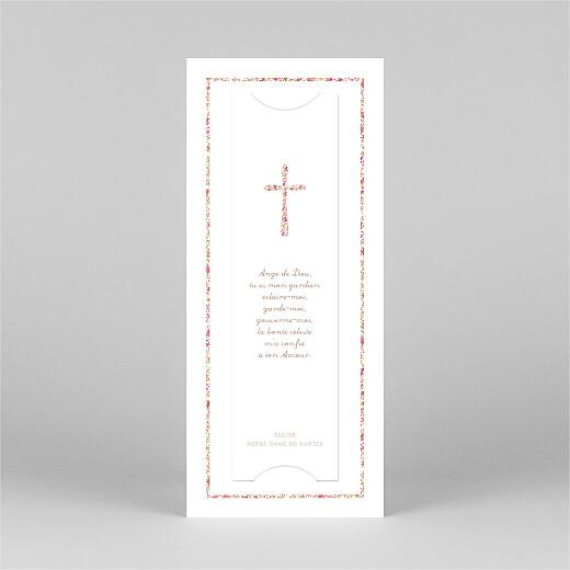 Faire-part de baptême Croix liberty (marque-page) rose - Vue 3