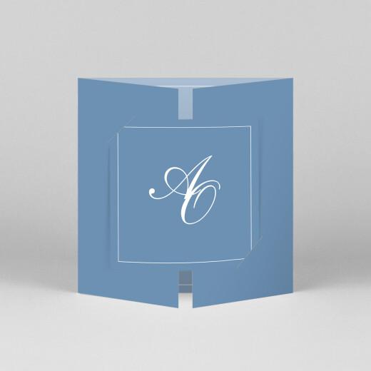 Faire-part de mariage Chic liseré (fenêtre) bleu - Vue 1