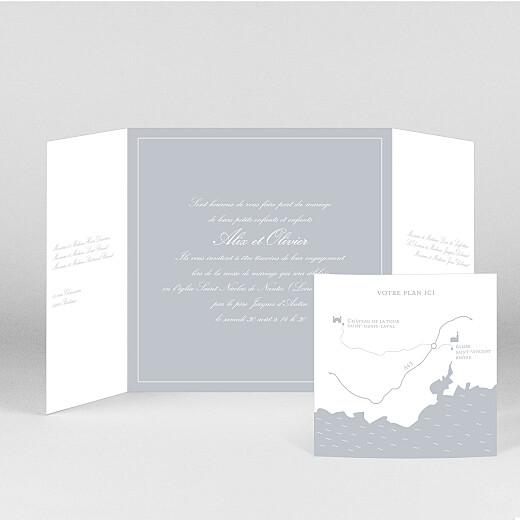 Faire-part de mariage Chic liseré (fenêtre) gris clair - Vue 2