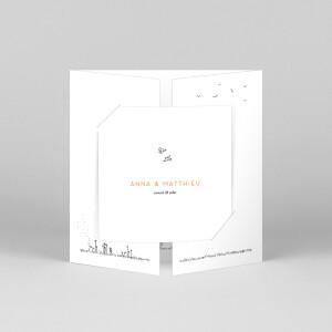 Faire-part de mariage Promesse champêtre (grande fenêtre) blanc