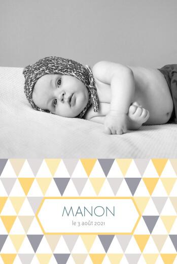 Faire-part de naissance Triangles portrait photo jaune taupe