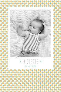 Faire-part de naissance Capri portrait photo moutarde