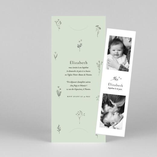 Faire-part de baptême Herbier (marque-page) vert - Vue 1