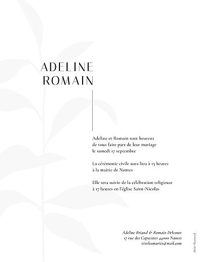 Faire-part de mariage Ikebana portrait blanc - Page 2