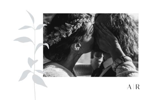Carte de remerciement mariage Ikebana bleu