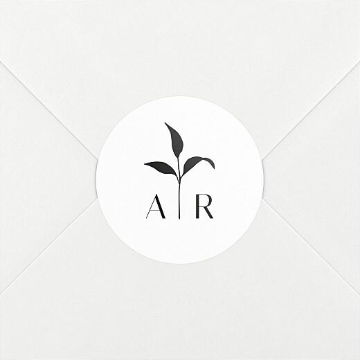 Stickers pour enveloppes mariage Ikebana blanc - Vue 2