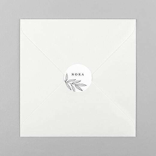 Stickers pour enveloppes baptême Jeune pousse blanc - Vue 1