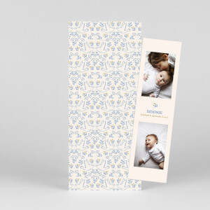 Faire-part de baptême L'envolée (marque-page) bleu