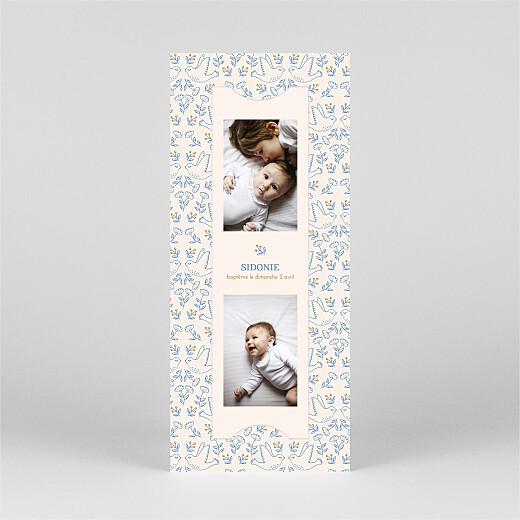 Faire-part de baptême L'envolée (marque-page) bleu - Vue 2