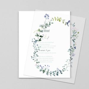 Faire-part de mariage Bouquet sauvage (calque) bleu