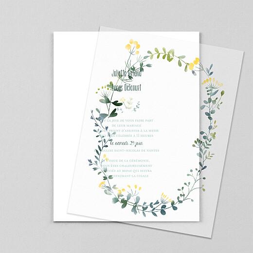 Faire-part de mariage Bouquet sauvage (calque) jaune - Vue 1