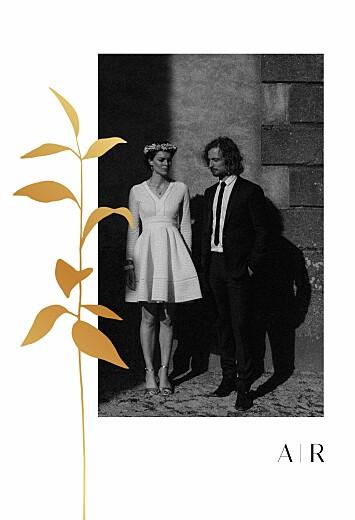 Carte de remerciement mariage Ikebana portrait dorure blanc