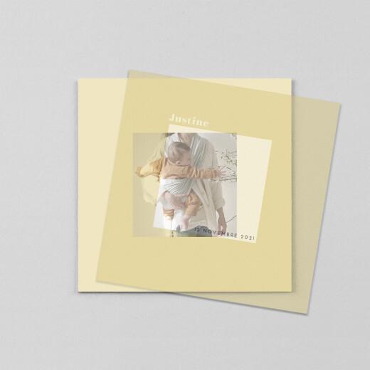 Faire-part de naissance Monochrome (calque) jaune - Vue 1