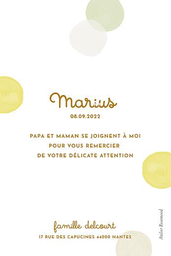 Carte de remerciement Confettis jaune - Page 2