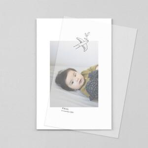Faire-part de naissance Orphée (calque) portrait blanc