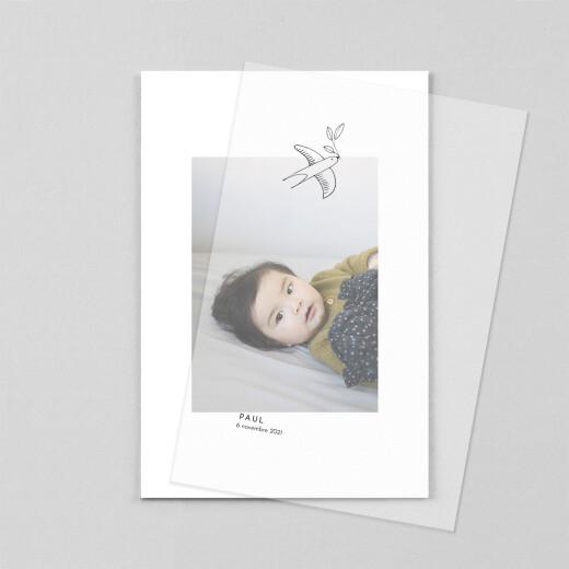 Faire-part de naissance Orphée (calque) portrait blanc - Vue 1