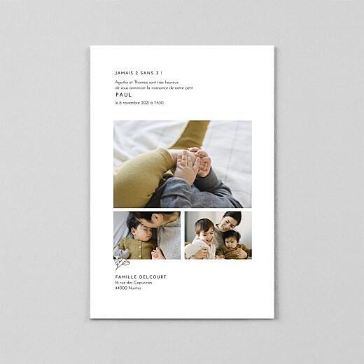 Faire-part de naissance Orphée (calque) portrait blanc - Vue 3