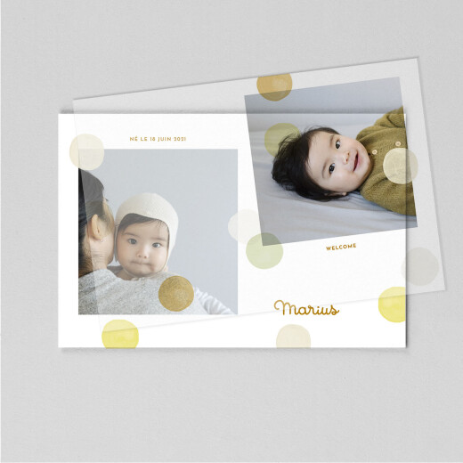 Faire-part de naissance Confettis (calque) jaune - Vue 1