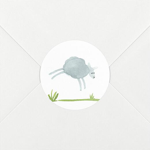 Stickers pour enveloppes naissance Saute mouton blanc - Vue 2
