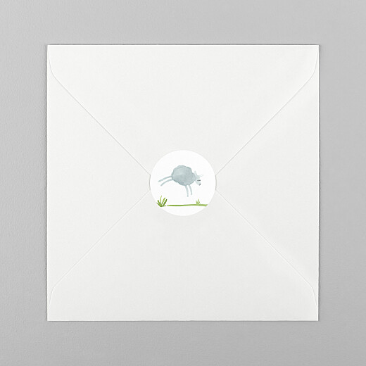 Stickers pour enveloppes naissance Saute mouton blanc - Vue 1