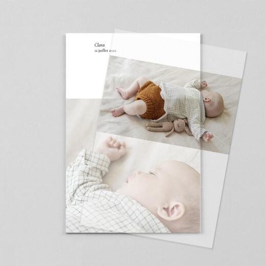 Faire-part de naissance Sobre (portrait) (calque) blanc - Vue 1