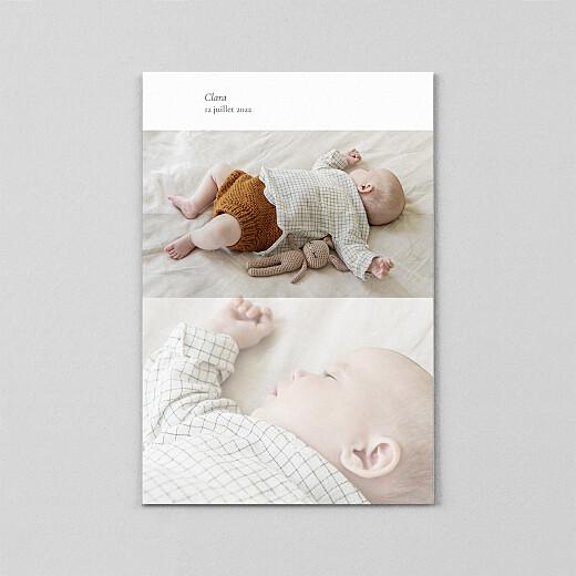 Faire-part de naissance Sobre (portrait) (calque) blanc - Vue 2