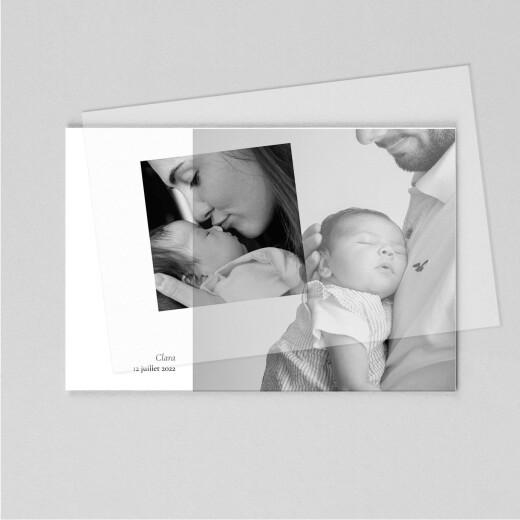 Faire-part de naissance Sobre (calque) paysage blanc - Vue 1
