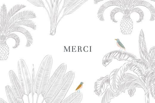 Carte de remerciement Oiseaux de paradis (paysage) blanc