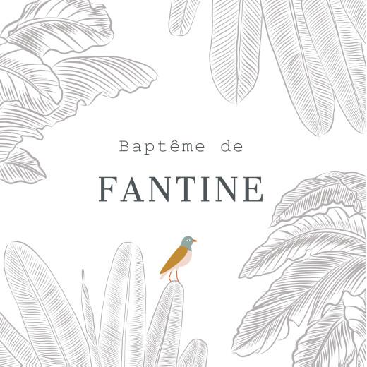 Etiquette perforée baptême Oiseaux de paradis blanc