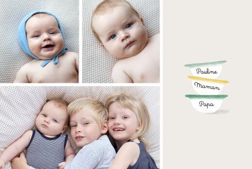 Faire-part de naissance Petits bols (1 enfant) vert