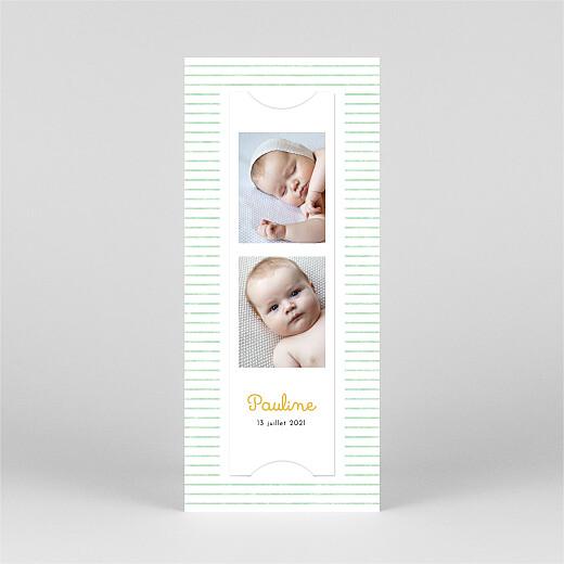 Faire-part de naissance Petits bols (marque-page) (1 enfant) vert - Vue 3